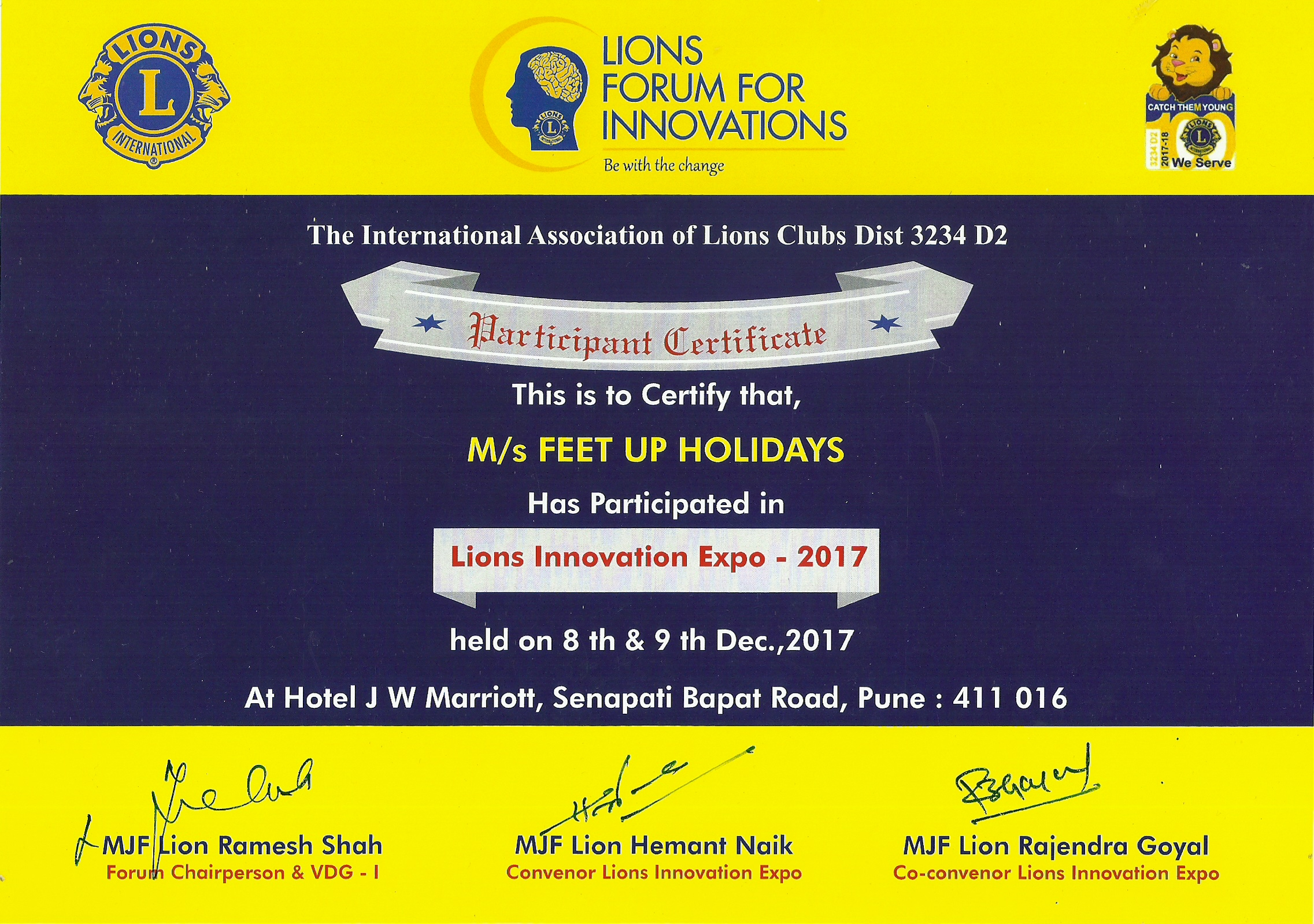 Lion's Innovation Expo 2017 certificate
